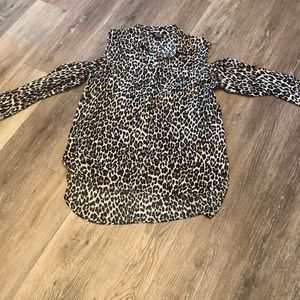 Cheetah cold shoulder blouse